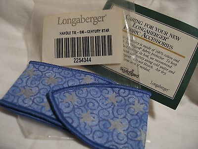 NEW Longaberger Basket HANDLE TIE SMALL CENTURY STAR FABRIC w/ Bag & Care Card