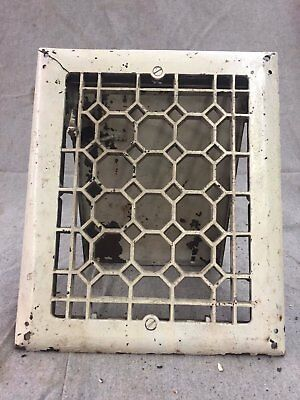 Antique Cast Iron Wall Heat Grate Register Waffle Vent Design Old 10x8 12-17B