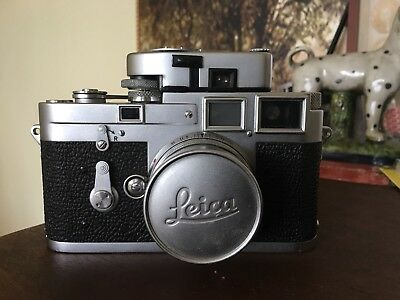 Leica M3 Camera With 5cm Summicron Lense And Meter Mr In Original Case