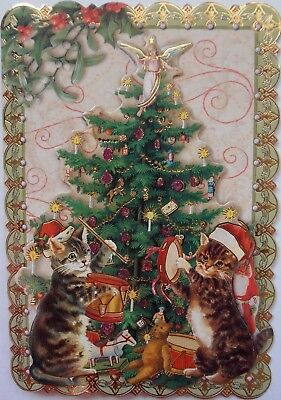 Single (1) Punch Studio Dimensional Card Kitty Party Tree Cats Kitten Music Xmas