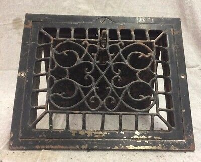 Antique Cast Iron Wall Heat Grate Register Vent Victorian Design Old 10x8 13-17B