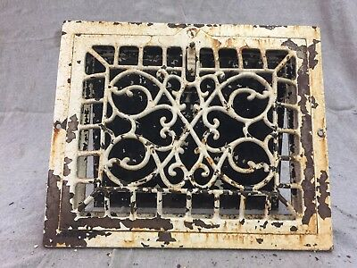 Antique Cast Iron Wall Heat Grate Register Vent Victorian Design Old 10x8 14-17B