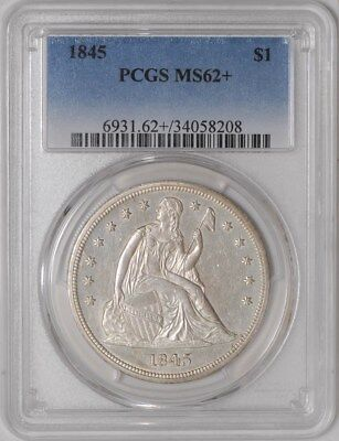 1845 Seated Liberty Dollar $ MS62+ PCGS Pop 1, Only 4 Finer!