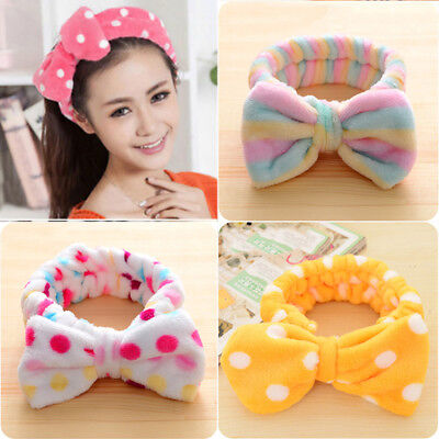 1 PC Dot Bowknot Hair Band Soft Makeup Shower Band Elastic Wash Face Headband