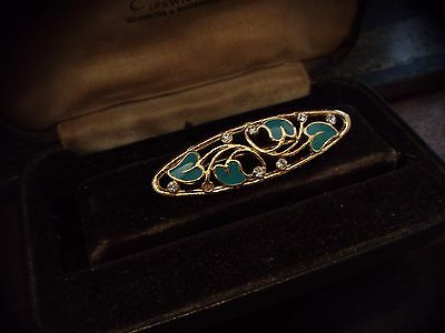 Vintage Jewellery Crystal & Turquoise Enamel  Brooch Gold Plated.