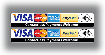 2 x Contactless Card Payment Stickers Visa Credit Card Amex Paypal Shop Taxi