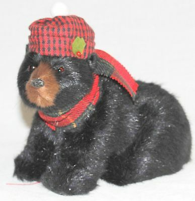 Byers Choice Black Bear Seated with Christmas Hat & Scarf - New 2016