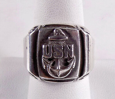 Vintage Ww2 1940's Sterling Silver Us Navy Ring Size 9 Free S/h #8043