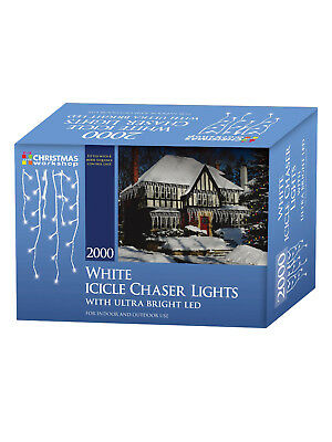 LED Icicle Chaser Lights 2000 Bright White Christmas Party Outdoor Xmas Deluxe