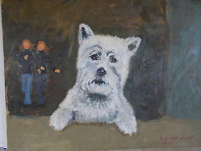 An original Oil Painting of A West Highland White Terrier By Katy Ann Davies
