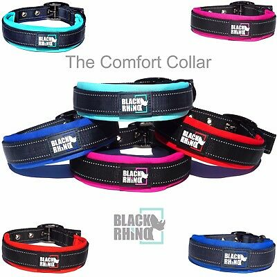Black Rhino - The Comfort Collar Soft Neoprene PADDED DOG COLLAR for All Breeds