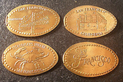 San Francisco,Ca. - Ess Eff Gifts - Four Copper Elongated Pennies