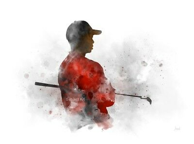 ART PRINT Tiger Woods illustration, Golf, Sport, Wall Art, Watercolour, Gift