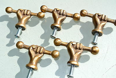 5 small drawer pulls handles FIST solid brass old style HAND knobs heavy 54 mm B