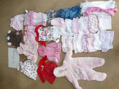 0 - 3 Months Baby Girls clothes Bundle 45 Items