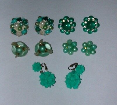 Vintage Lot Of 5 Pair Cluster Bead Earrings - 2 Signed - Mint Green Lot #30
