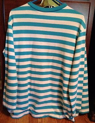 Clown Costume, professional, blue-and-white striped, long-sleeve, knit shirt.