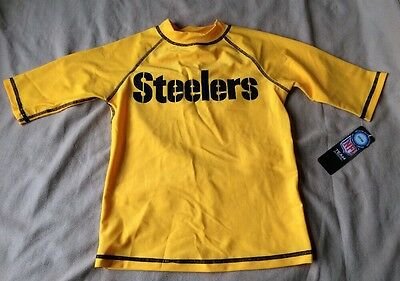Youth NFL Pittsburgh Steelers Swim Shirt Rash UV50 Protection Size: 10/12 NEW