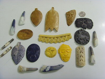 antique bovine water buffalo bone 20 carvings Wicca voodoo magic craft 49390