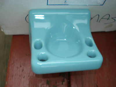 Vtg Ceramic China In Wall Mount Tile Bathroom Turquoise Toothbrush Holder Nos