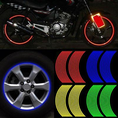 Quality 16pcs Strips Reflective Motorcycle Car Rim Stripe Wheel Tape Sticker