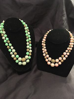 Lot of 2 Vintage RETRO Pin Up Japan Double Strand Choker Necklaces w Sugar Beads