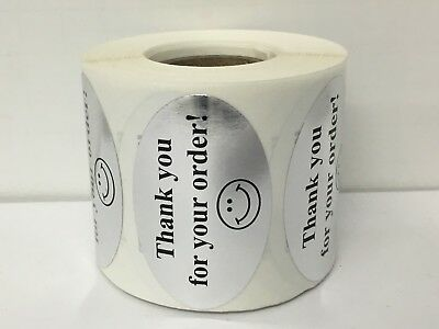 500 Labels 1-1/4x2 Oval BLK/SILV THANK YOU FOR YOUR ORDER Mailing Retail Sticker