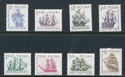 Poland Scott 1206-13 1213 Ships Engraved Full Set 1964 NH