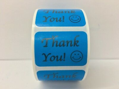500 Labels .875x1.25 Blue THANK YOU Mailing Shipping Retail Stickers