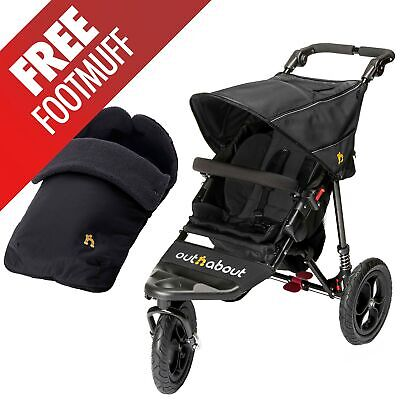 Out N About Nipper 360 Single Buggy V4 Pushchair/Pram & Raincover - Raven Black