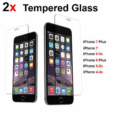 2X Scratch Resist Tempered Glass Screen Protector for iPhoneX 8 7 plus 6 6s 5SE