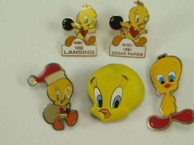 Tweety Bird Pin Lot of 5 Warner Bros. 90's Lapel Pins Buttons WIBC Bowling
