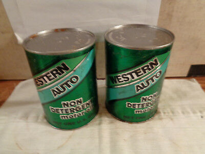 VINTAGE Western Auto Non Detergent Motor Oil Can Quart Lot Of 2 Full Garage .