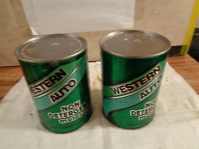 VINTAGE Western Auto Non Detergent Motor Oil Can Quart Lot Of 2 Full Garage ..