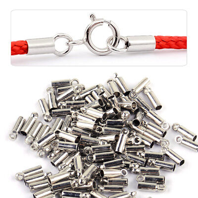 100pcs Silver Jewelry Findings Barrel Bead Leather Cord Necklace DIY Ends Caps