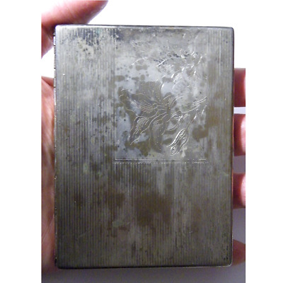 Antique Vintage Victorian Card Case Lily Silver Metal Edwardian Steampunk Retro