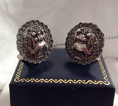Antique Strait Chinese Peranakani 900 Silver Dragon Foo Dog Detailed Earrings