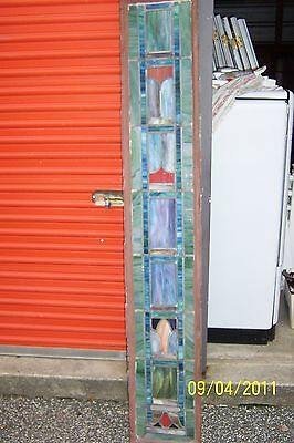PAIR OF ANTIQUE VINTAGE STAINED GLASS WINDOW SIDE LITES 12 7/8 x 80
