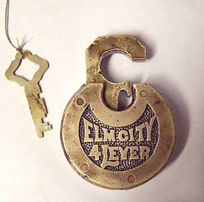 VINTAGE ELM CITY 4 LEVER CAST BRASS BRONZE PANCAKE PAD LOCK With Key