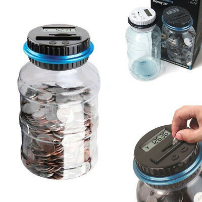 Counting Coin Money Boxes Electronic Digital LCD Showing Jar Piggy Bank Gifts UK