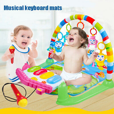 3 IN 1 Rainforest Lullaby Baby Playmat Musical Piano Gym Activity Cushion Mat AU