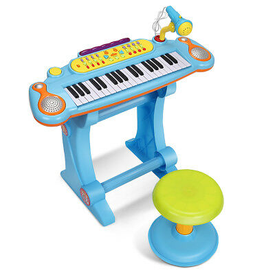 Kids Electronic Keyboard 37 Key Piano Musical Toy w/ Microphone & Stool Blue