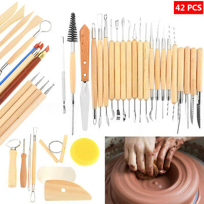 42Pcs Wooden Clay Sculpting Tools Pottery Carving Tool Set Modeling Craft DIY