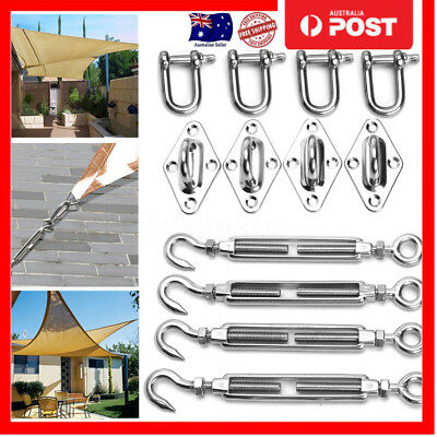 8MM Shade Sail Fixing / Mounting Kit - Stainless Steel - Four way wall mounting