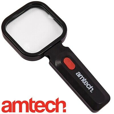 MAGNIFYING GLASS WITH 4 LED LIGHTS ~ADJUSTABLE FOLDING LENS~ Map Small Fine Read