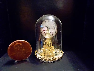 New! Ornate Gold Glass Dome Mantle Dollhouse Miniature Clock Mid-Century Modern