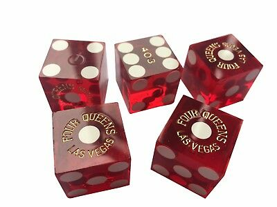 "Translucent Red Las Vegas Casino Dice ""four Queens"" Casino Dice Craps"