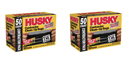 New 100 Count Husky Black Trash Bags 42 Gal Heavy Duty Contractor Garbage Bags