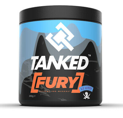 Tanked Fury Pre Workout 40 Servings Powerful Muscle Pump Powder Blue Raspberry