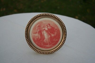 ANTIQUE FRENCH GILT & HEAVY BRONZE ROUND PHOTO FRAME EASEL BACK STAND XIXth